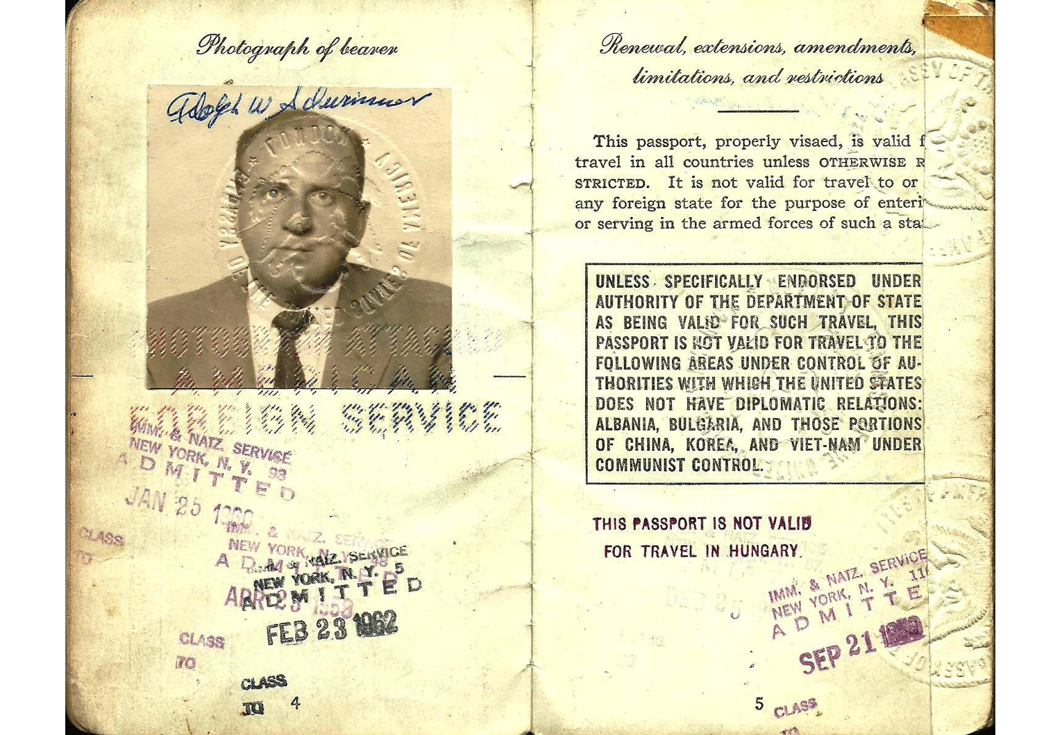 Passport issued to Al Schwimmer