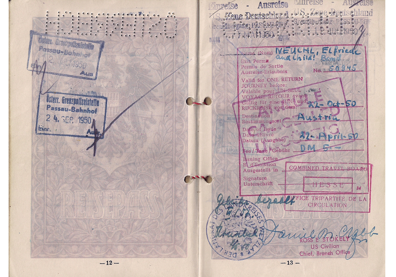 Allied Military Government visa for Germany