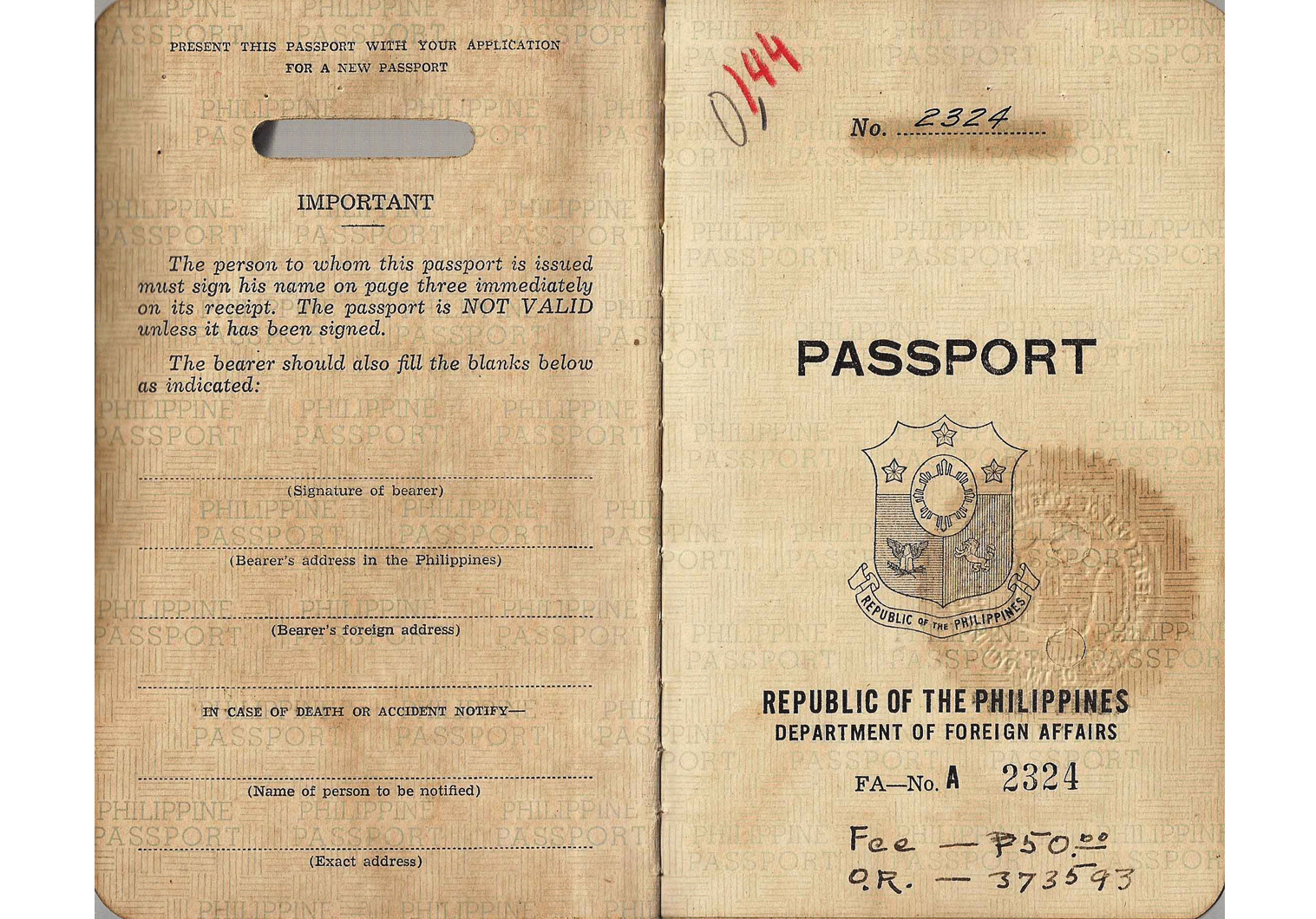 Post-war Philippines passport