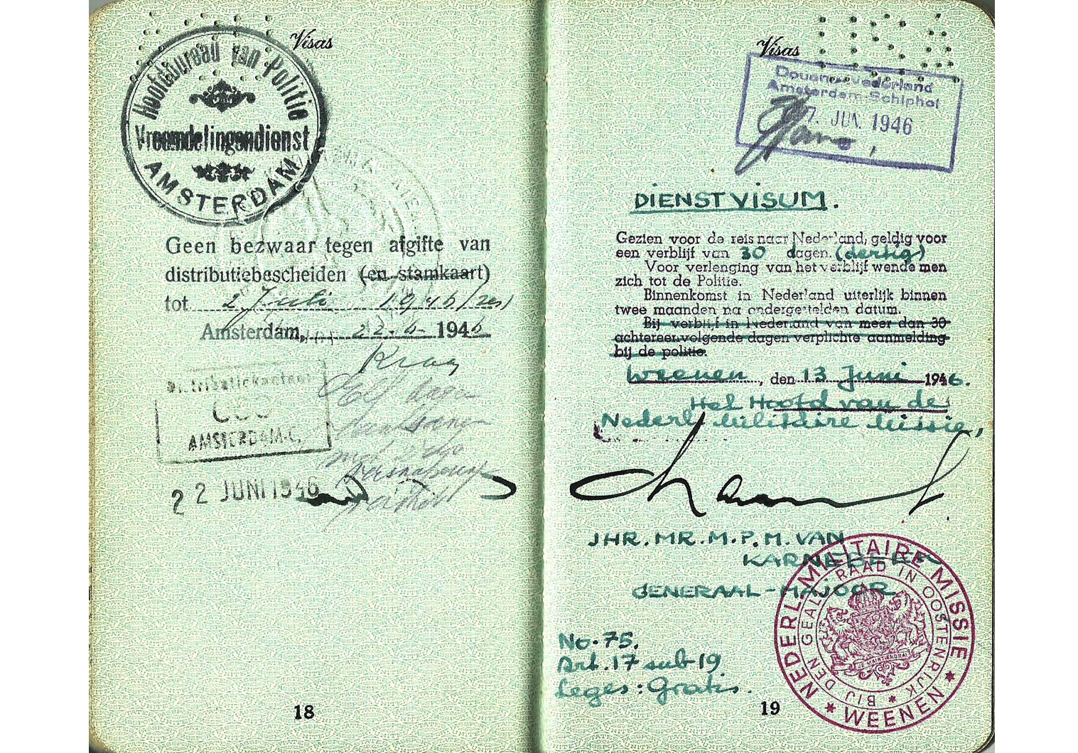 WW2 military mission visa