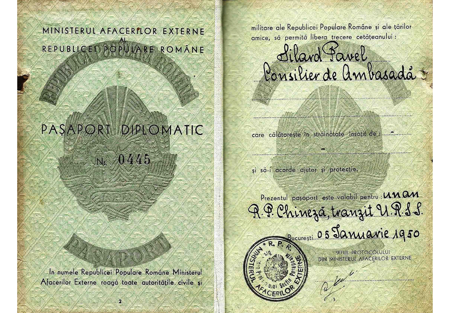 post-WW2 Diplomatic passport