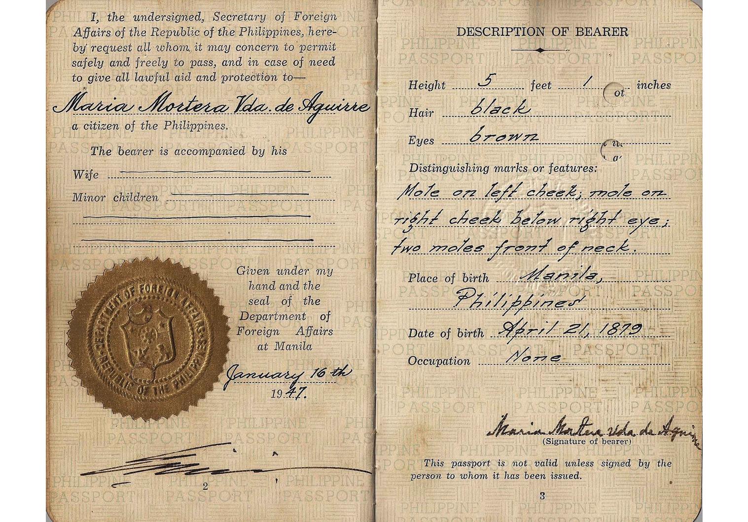 Post-war Philippines passport