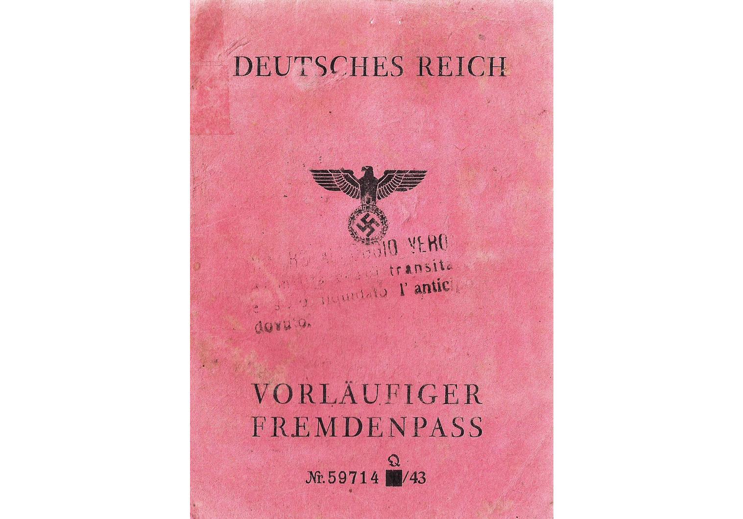 Nazi Germany Fremdenpass  passport