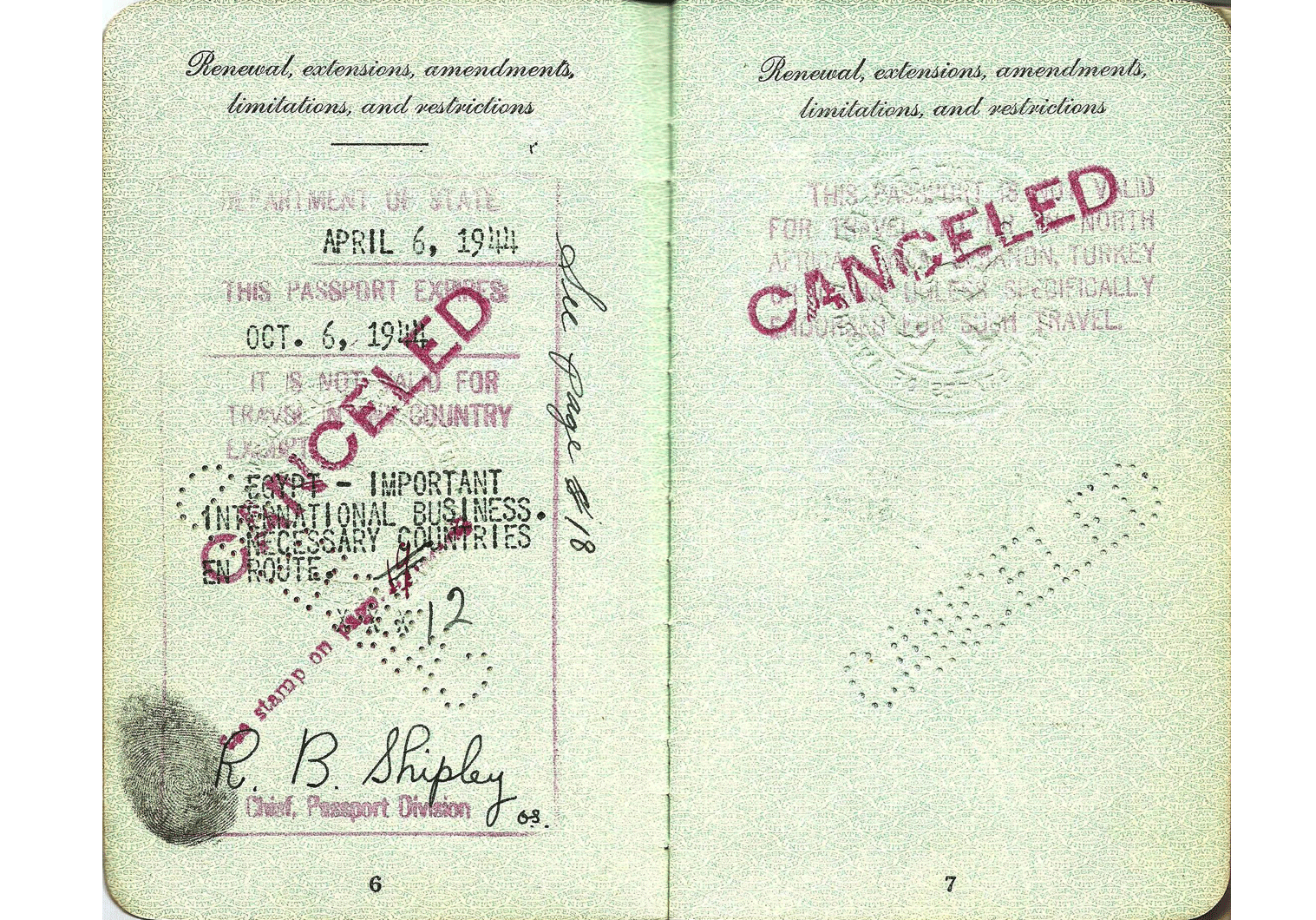 WW2 US special passport for UNRRA official