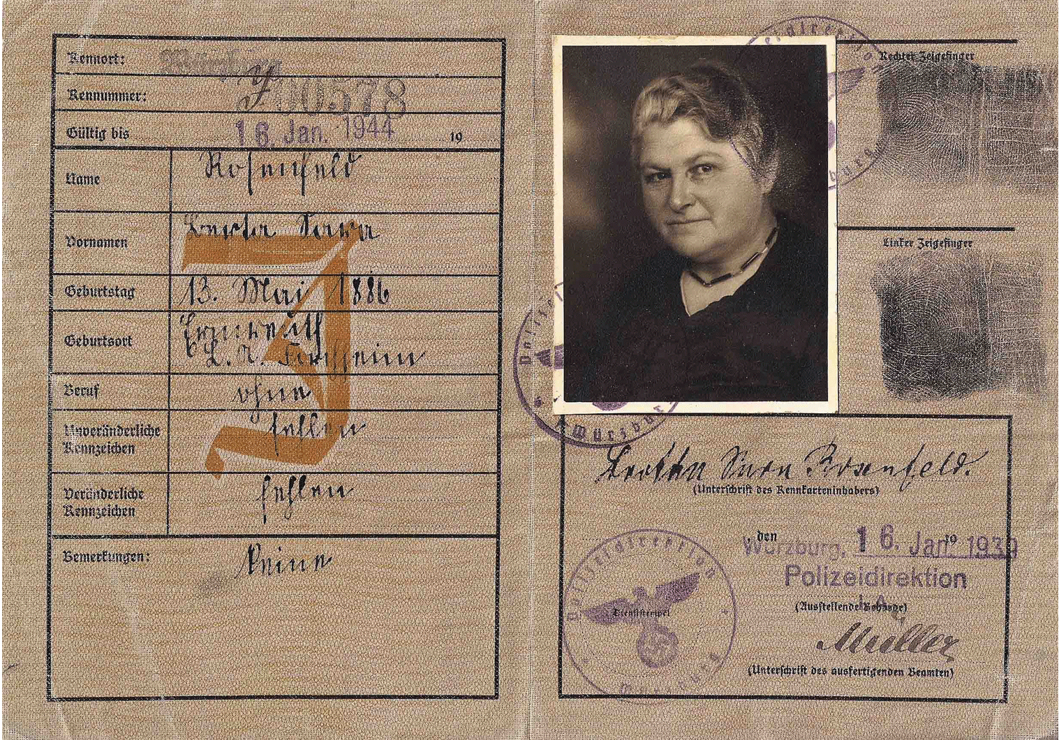 german J stamped ID for Jews