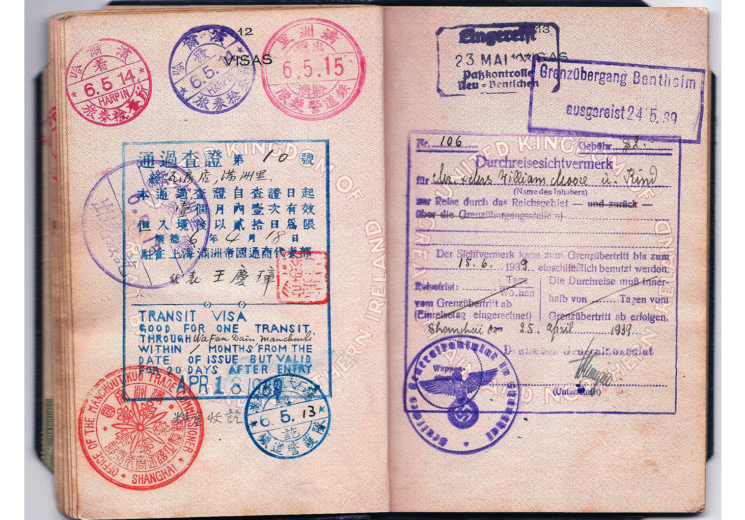 Manchurian visa inside a British passport
