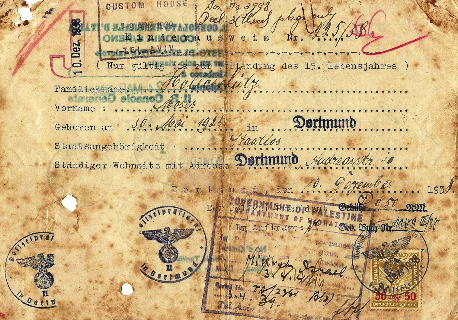 J stamped Jewish travel document for children