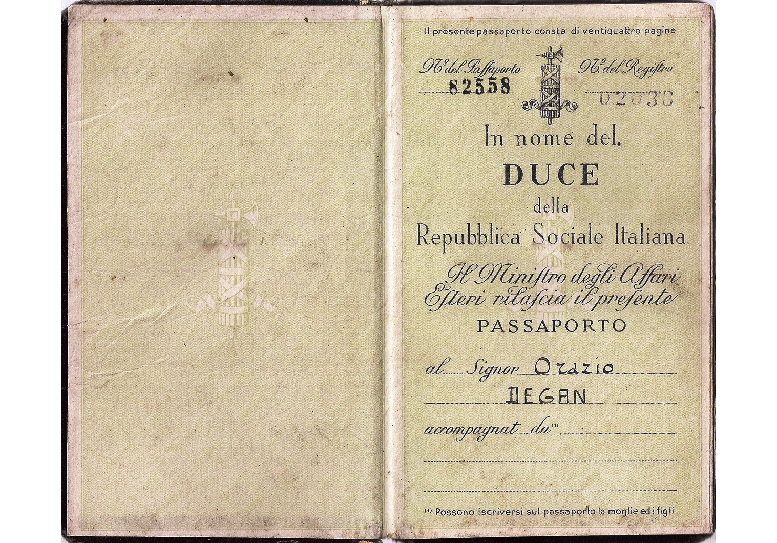 Italian Social Republic passport
