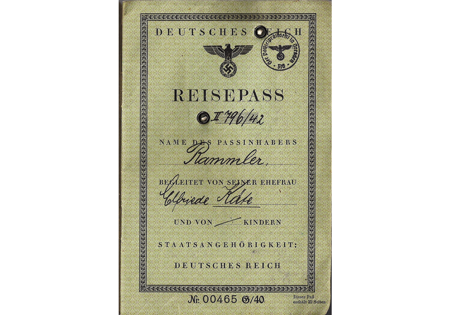 WW2 German passport for  Oslo