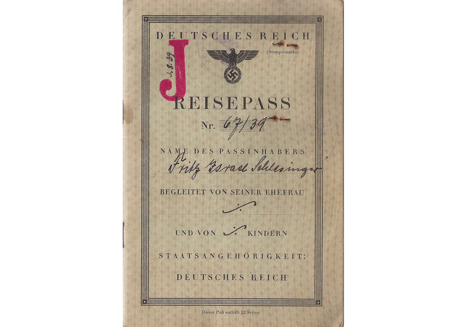 WW2 German J stamped passport