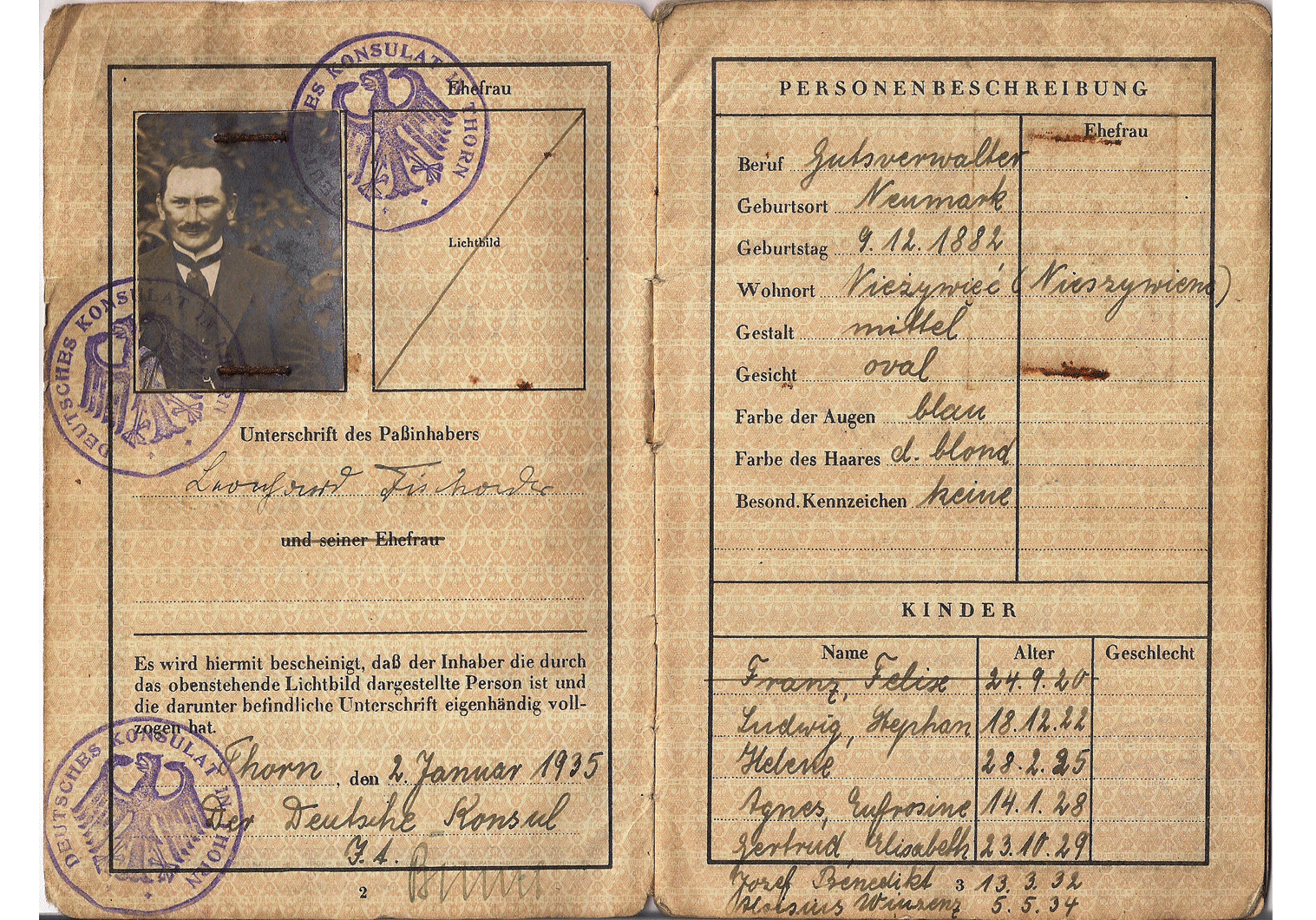 1935 German passport