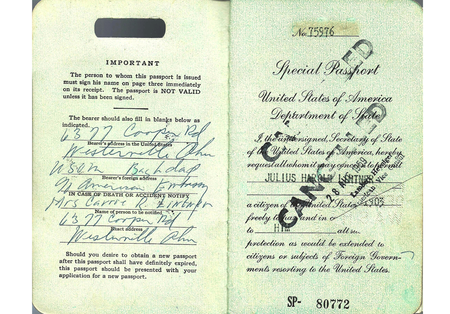 cold-war US special passport