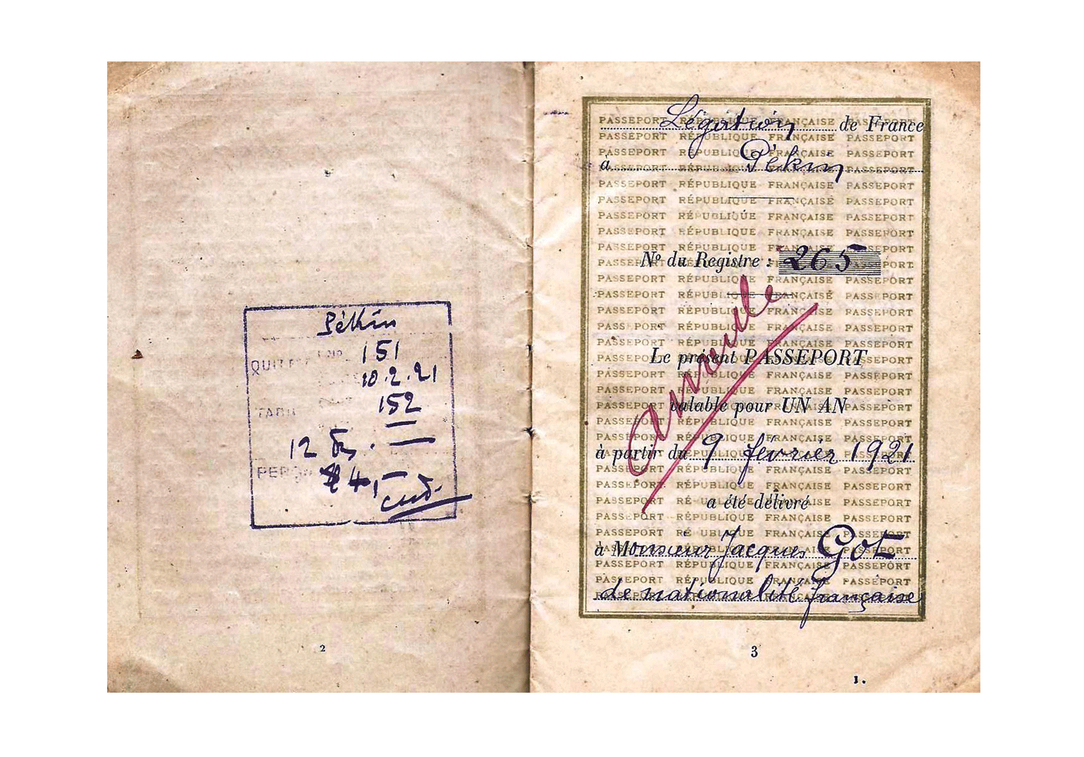1921 Beijing issued passport
