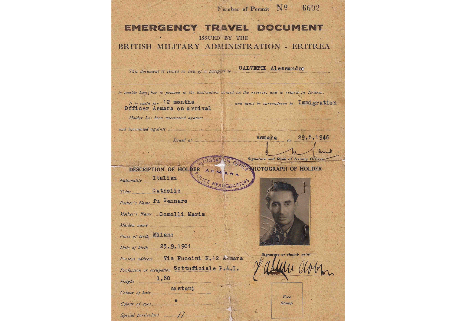 British military administration travel document