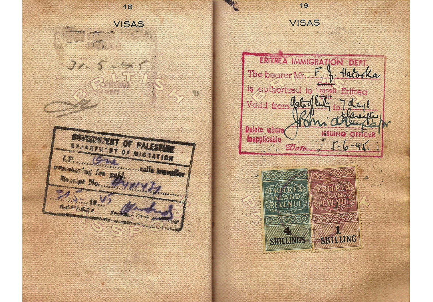WW2 Britiah Aden colony passport