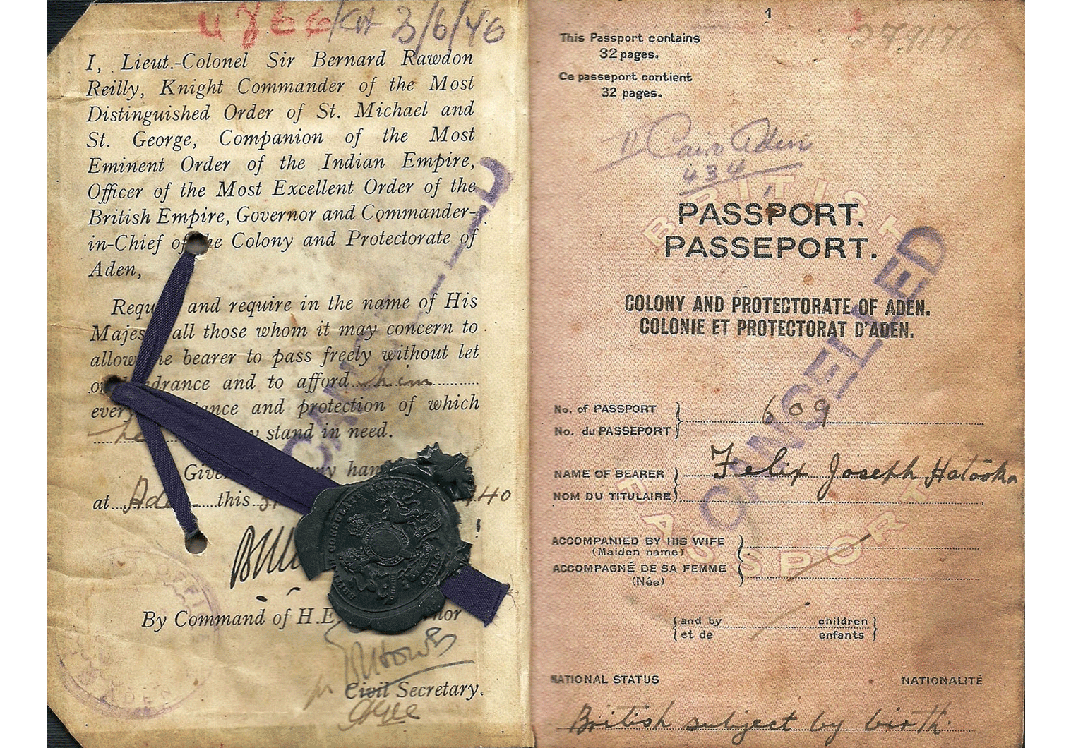 WW2 Aden colony passport