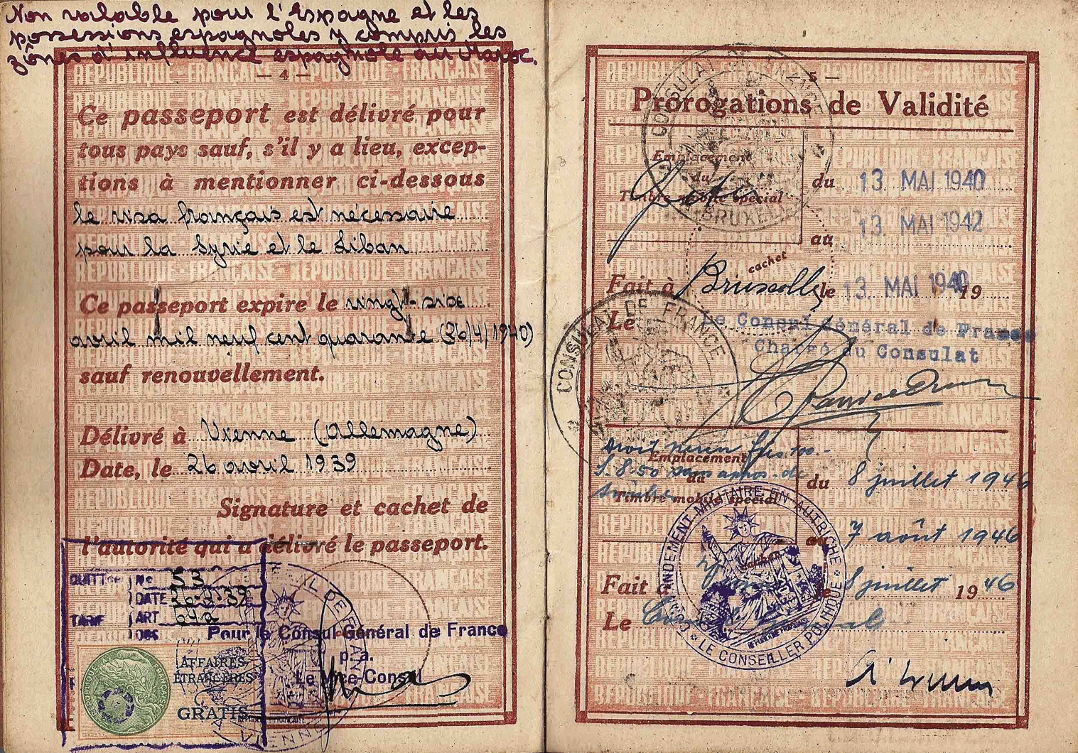 1939 French official's passport