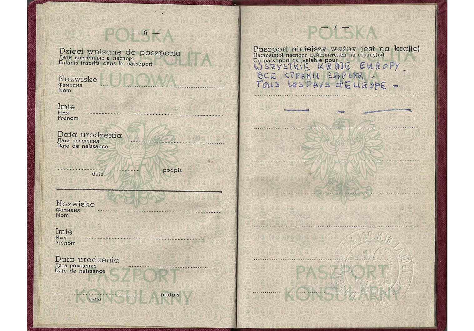 1958 Polish consular passport