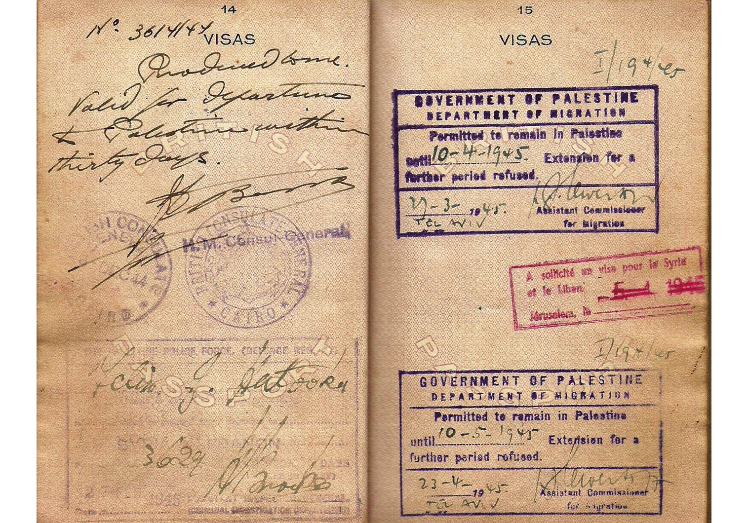 WW2 Britiah Aden colony passport