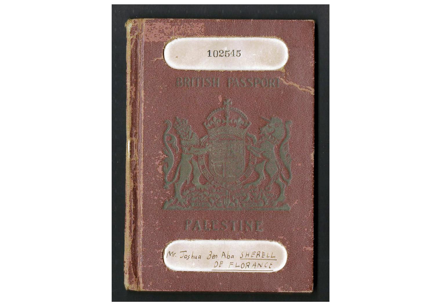 British Palestine passport for China