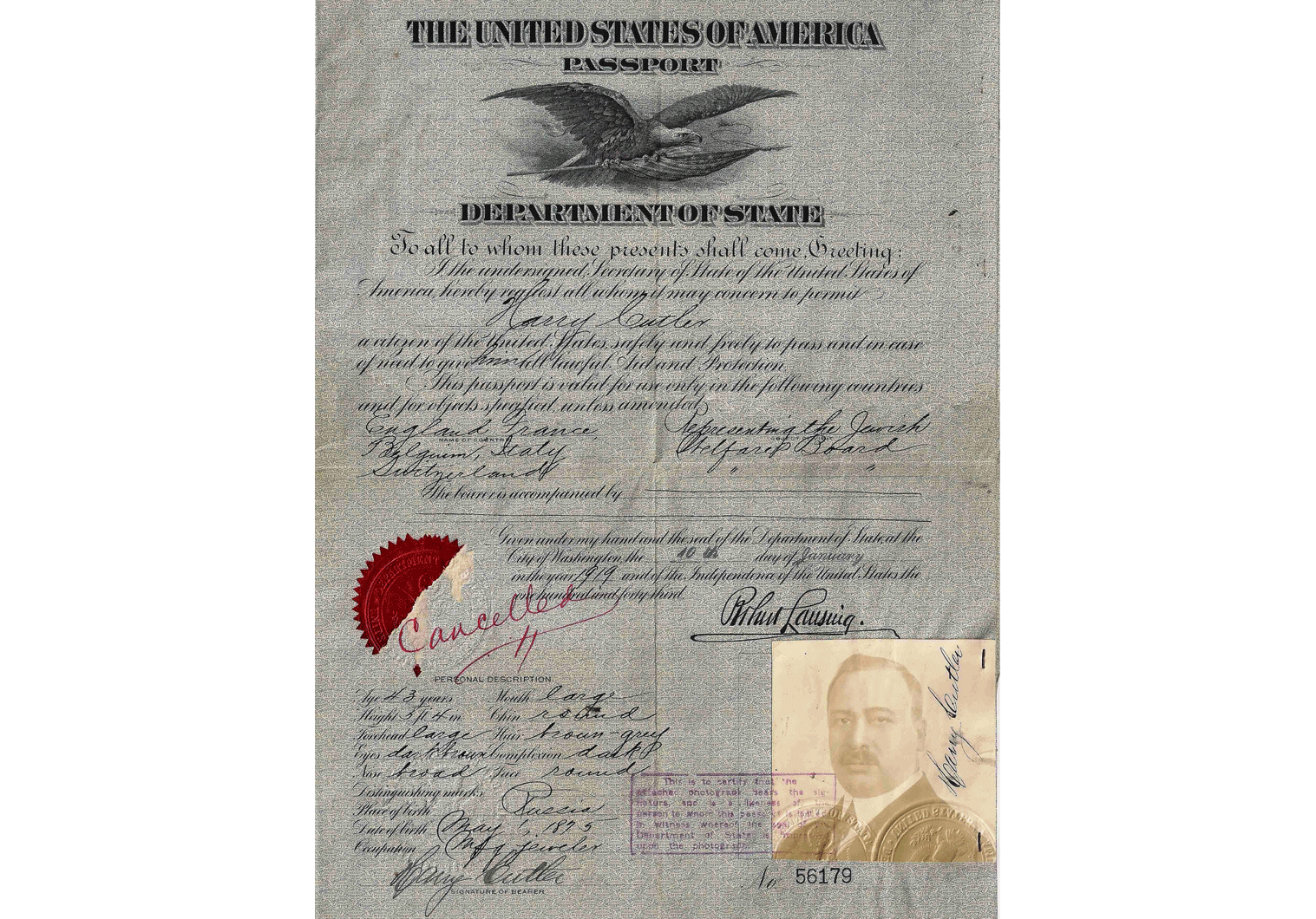 WW1 official US passport