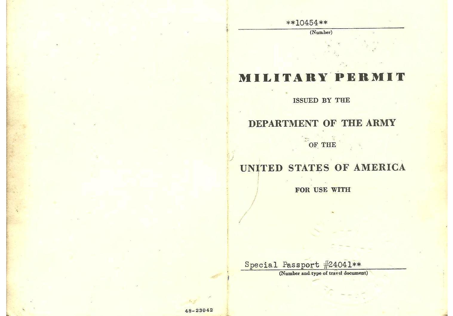 WW2 US military permit Japan