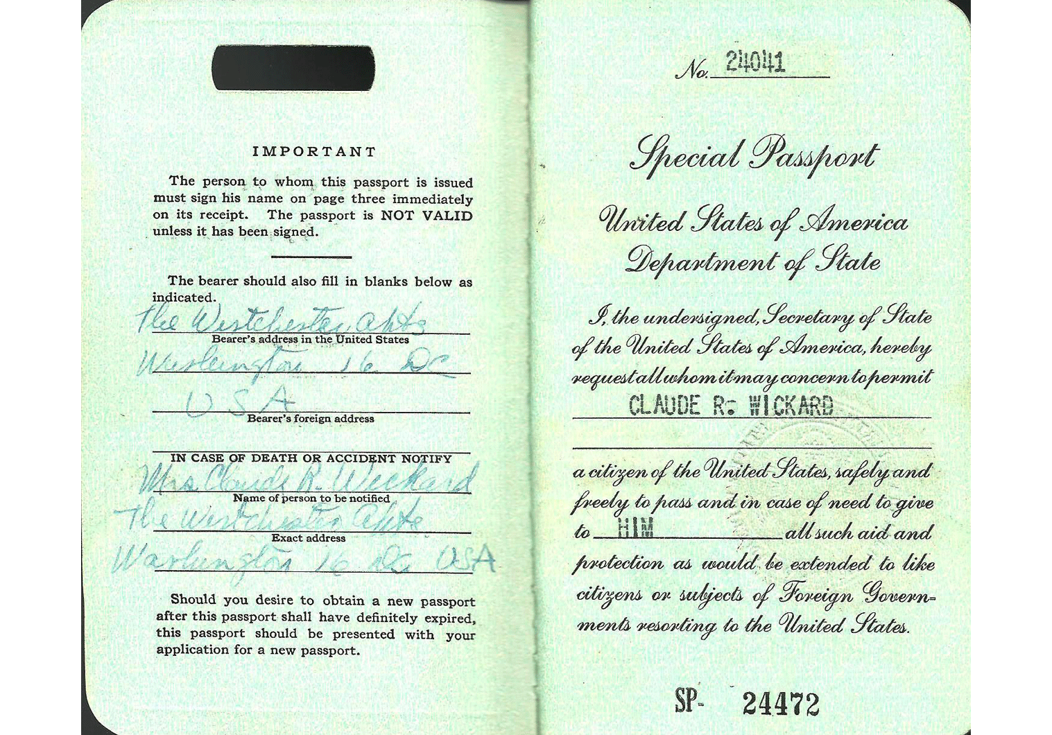 1951 US Special Passport - Claude R.Wickard