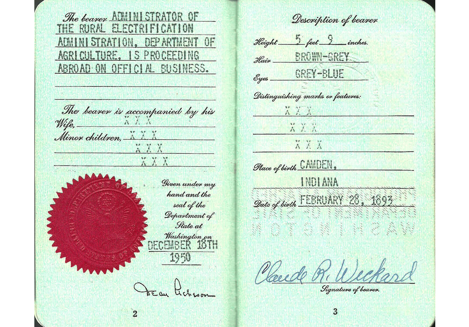 old US Special Passport