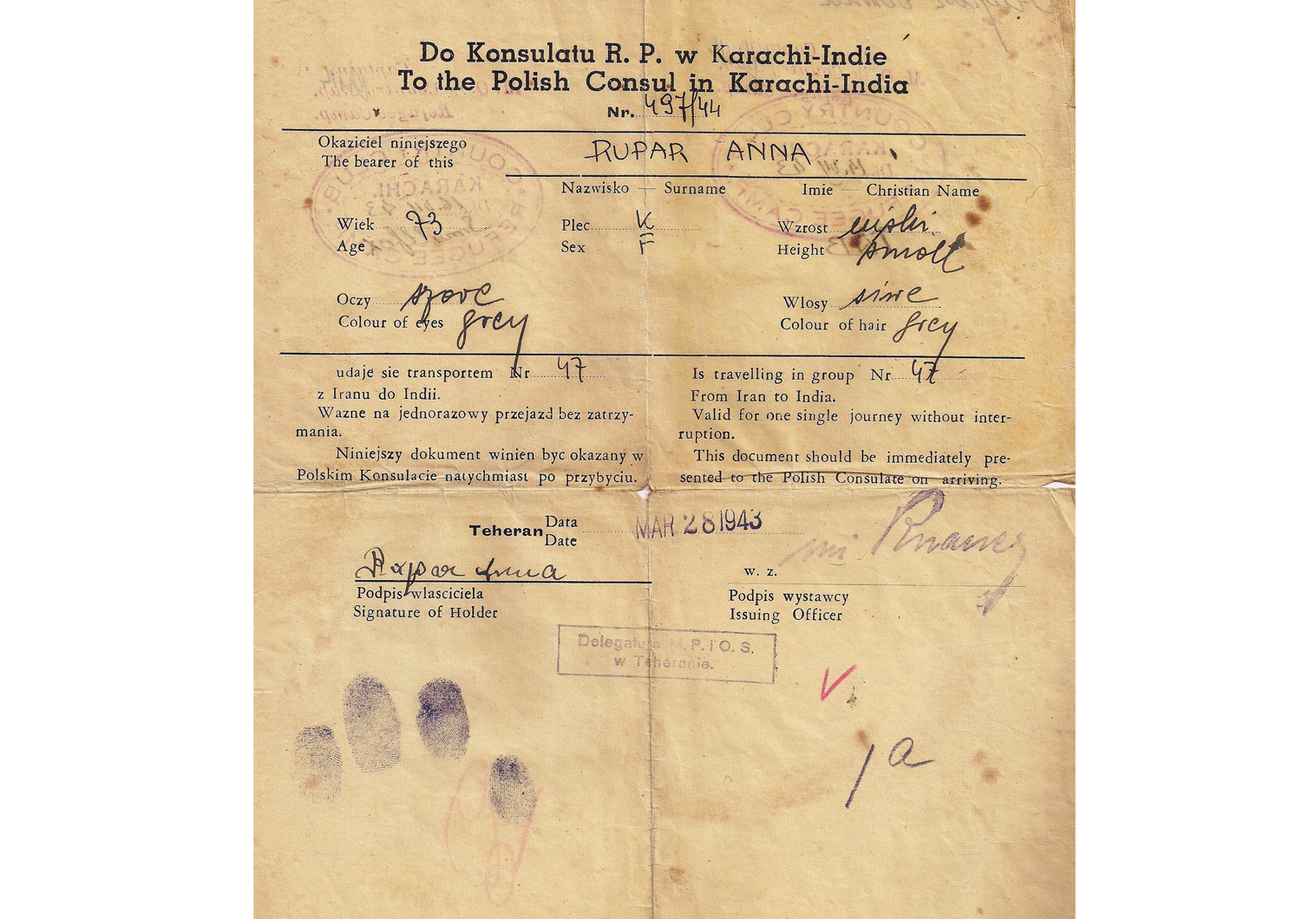 WW2 refugee passport from Tehran