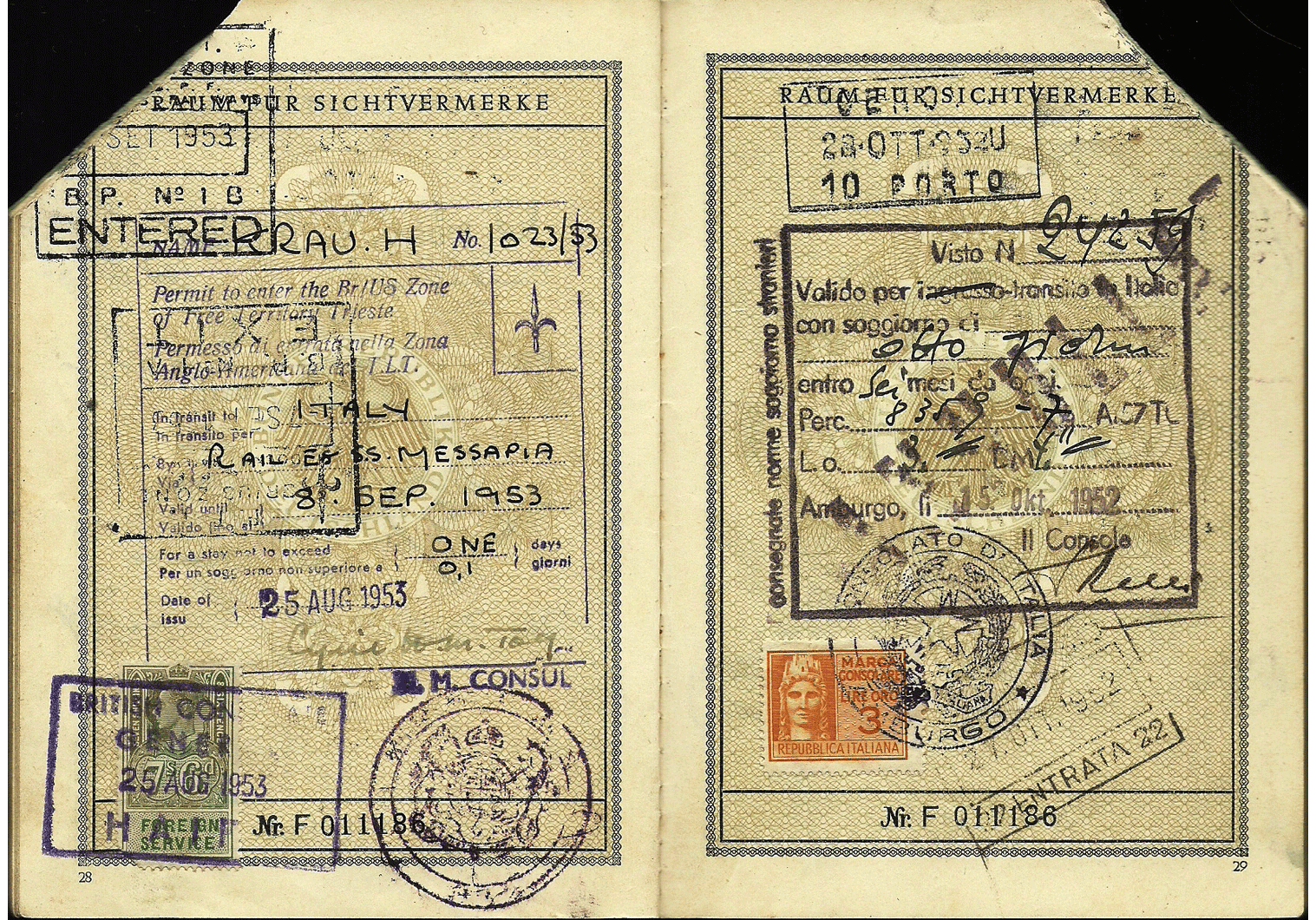 TRIESTE - Allied Identity card in post-war occupational zone in Europe.