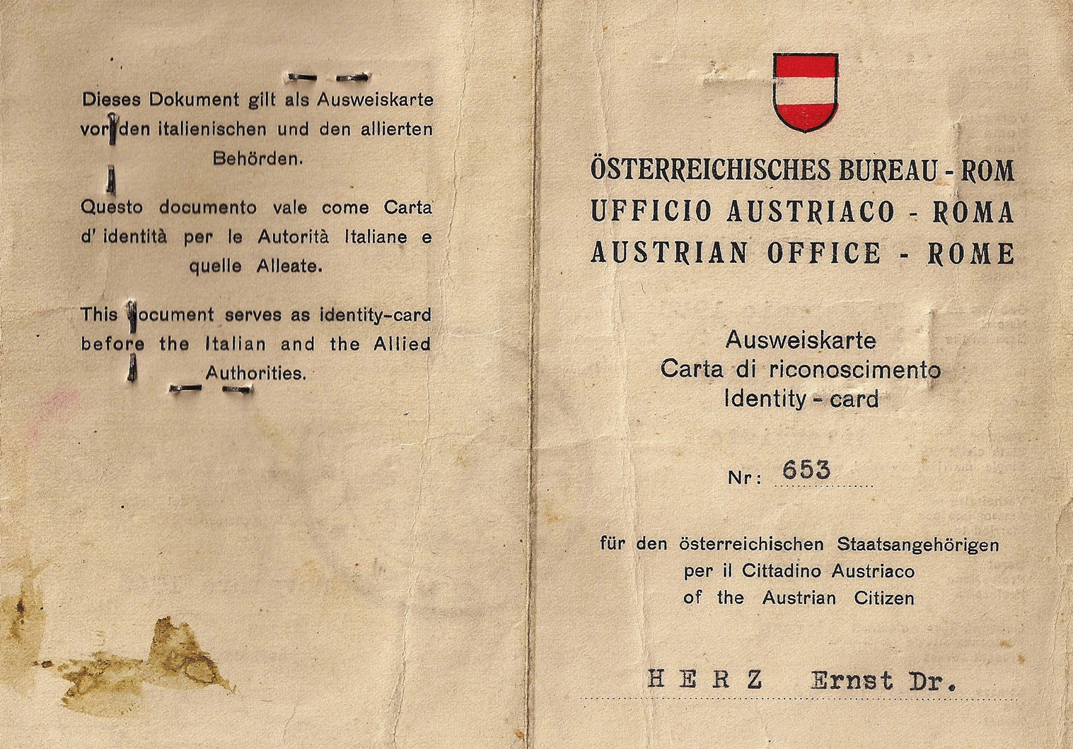 1945 Austrian liberation ID's & travel documents