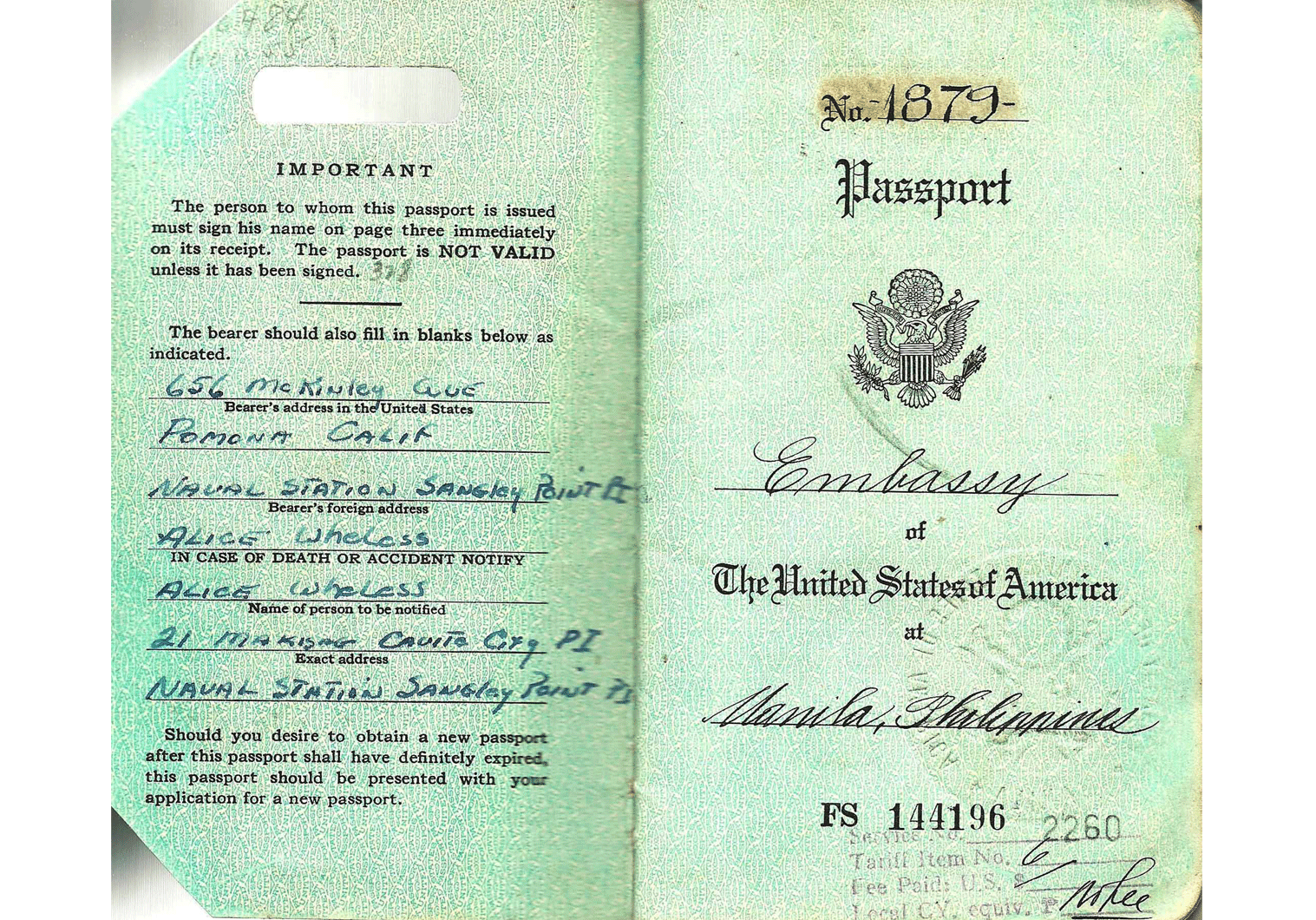 early Vietnamese War official US passport.