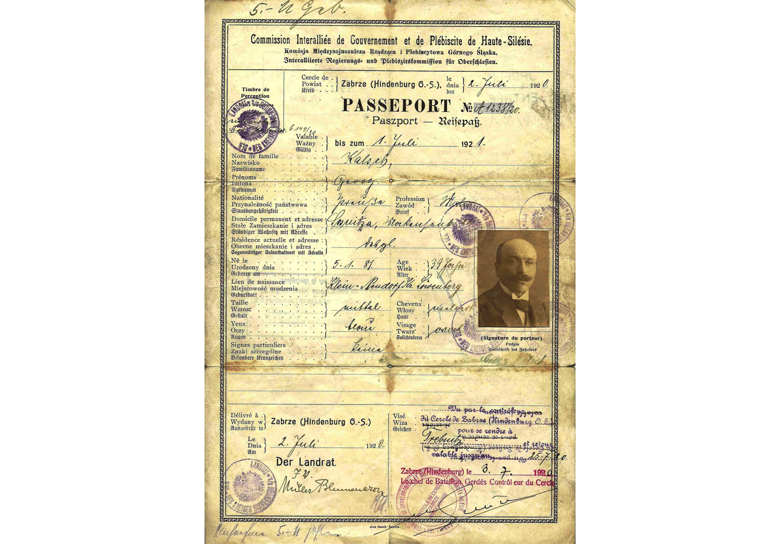 Upper Silesia plebiscite passport.