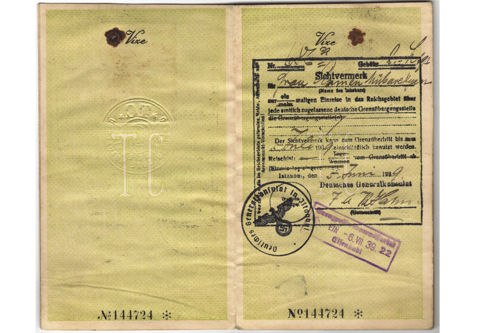 1939 German visa