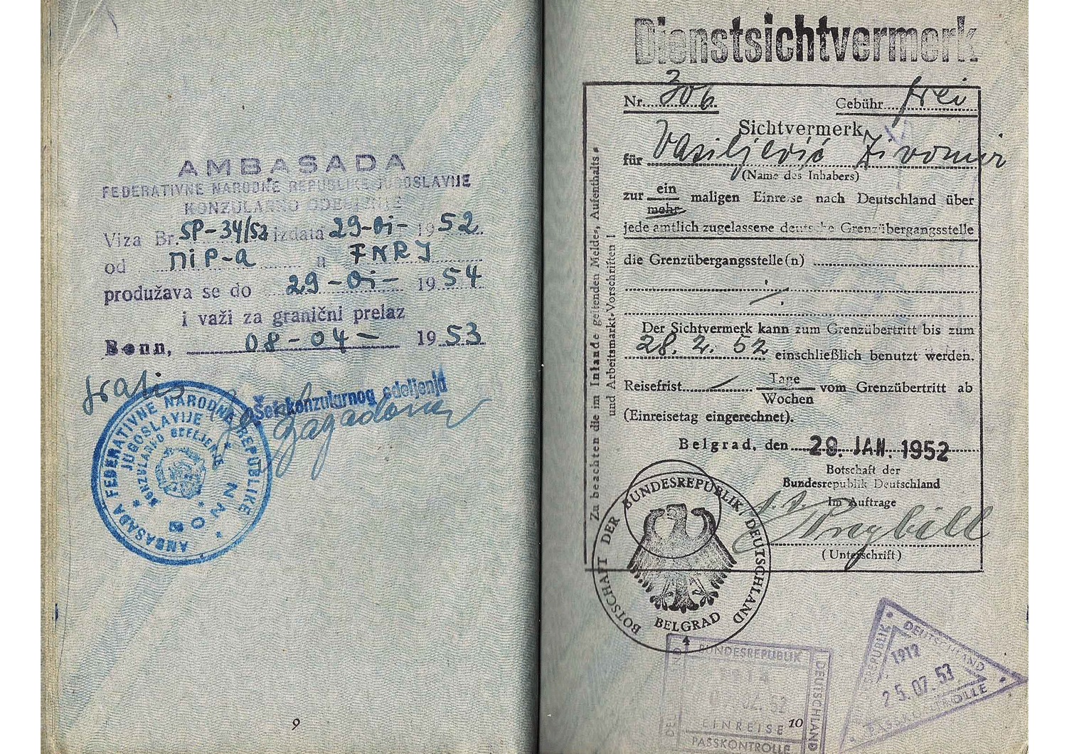 Cold-War service passport from 1952