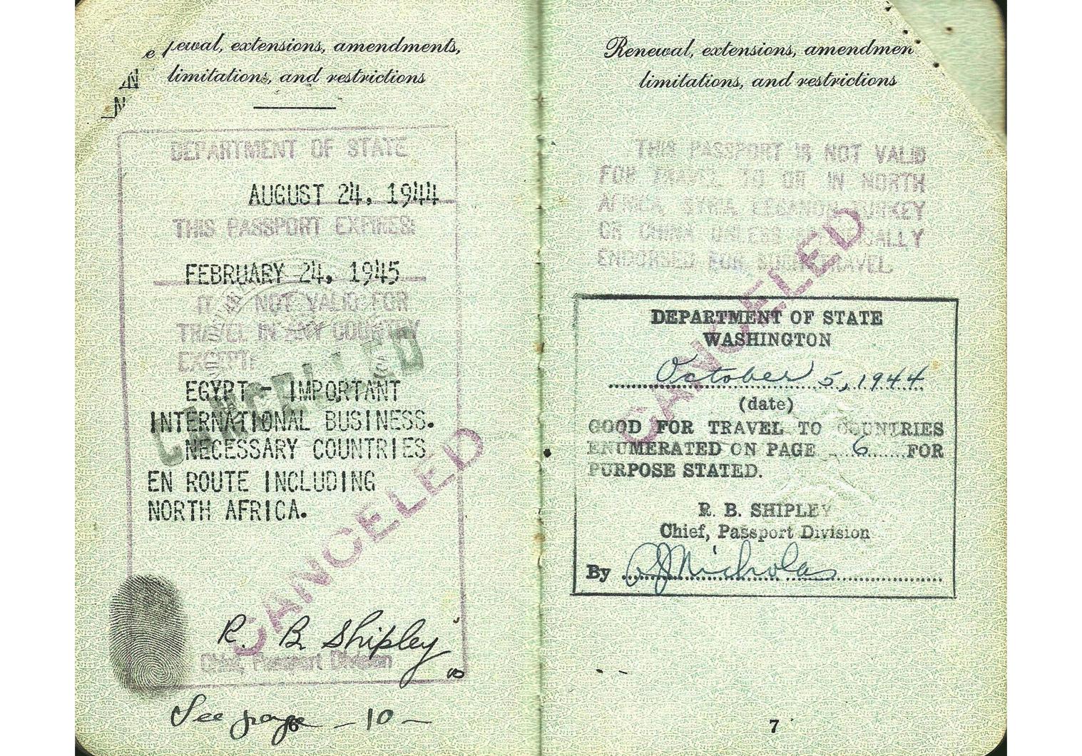 WWII UNRRA passport.
