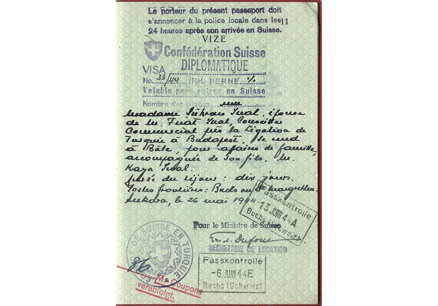 WW2 Diplomatic visa.