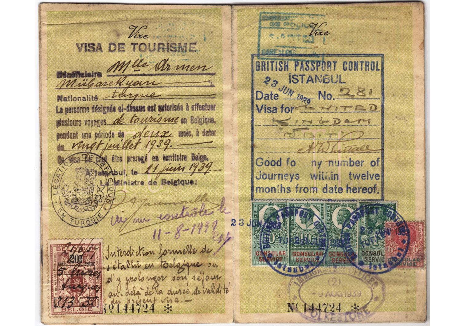 WW2 Arthur Whittall visa.