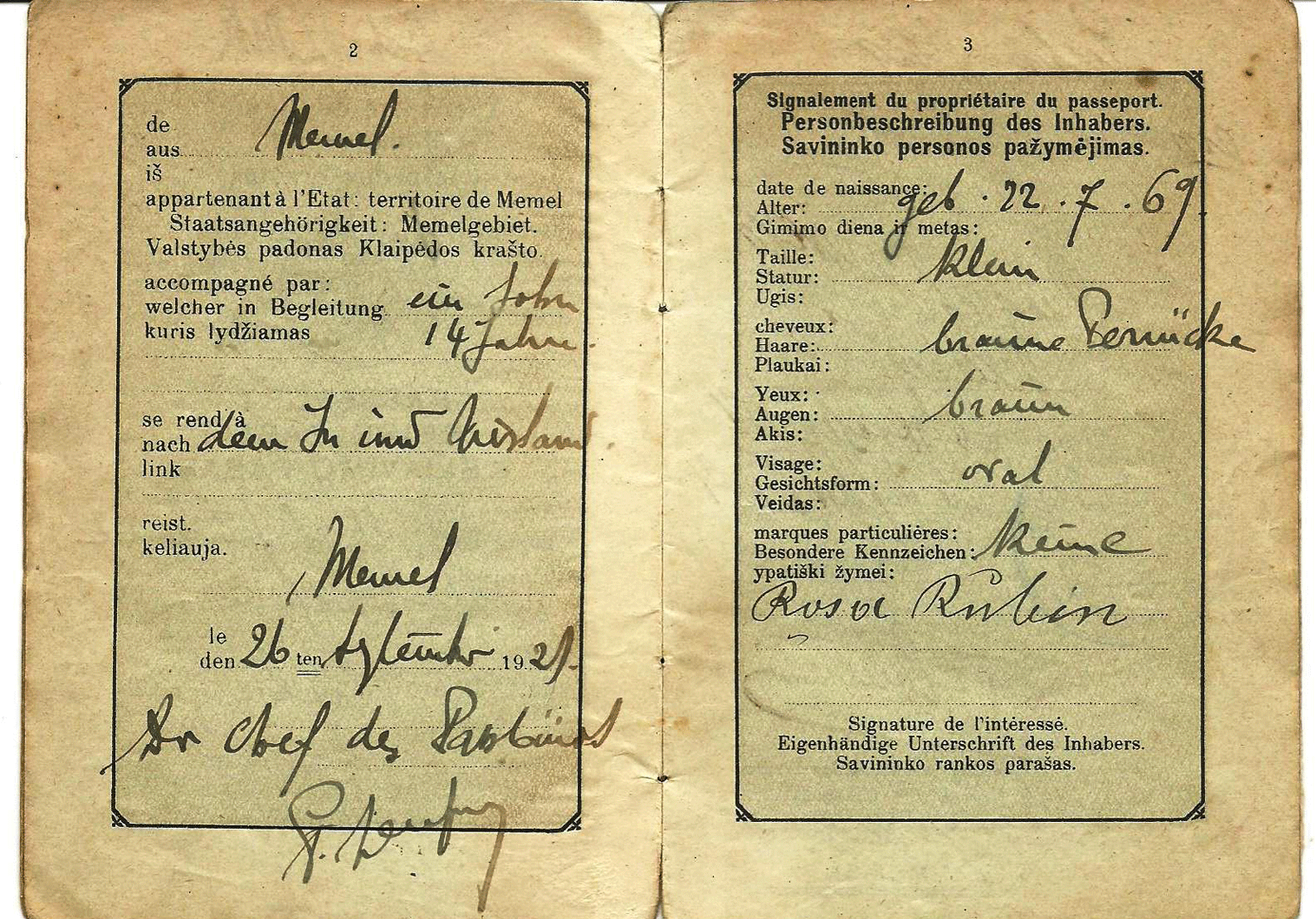RARE Memel territory passport