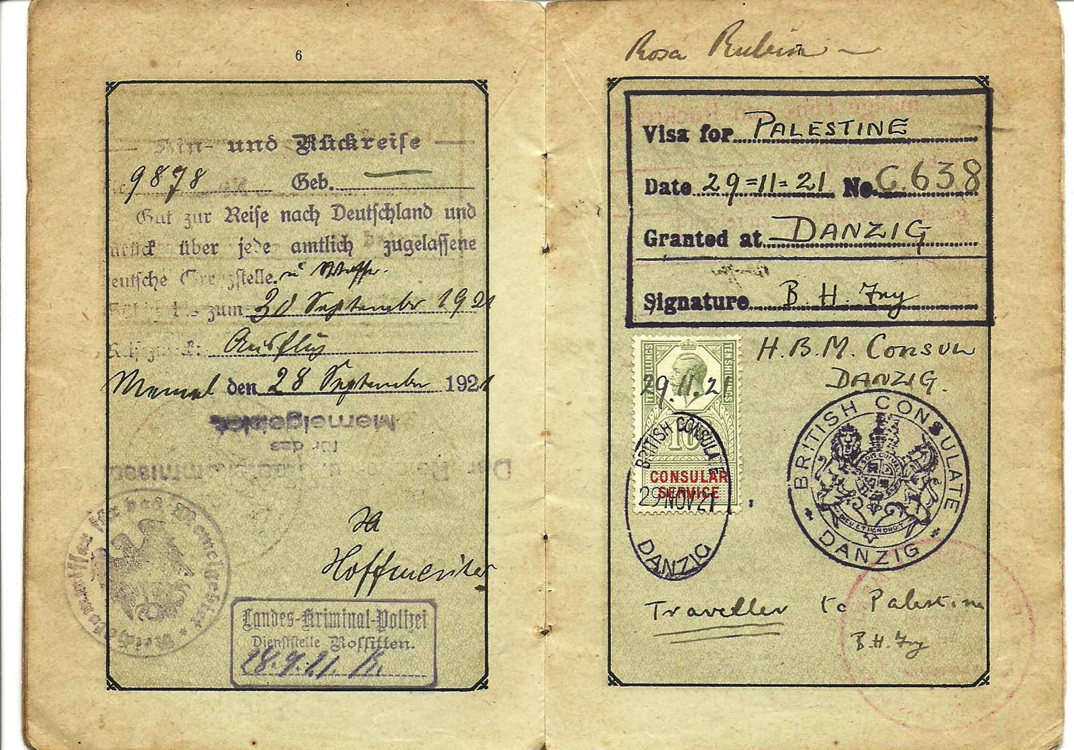visa for British Palestine