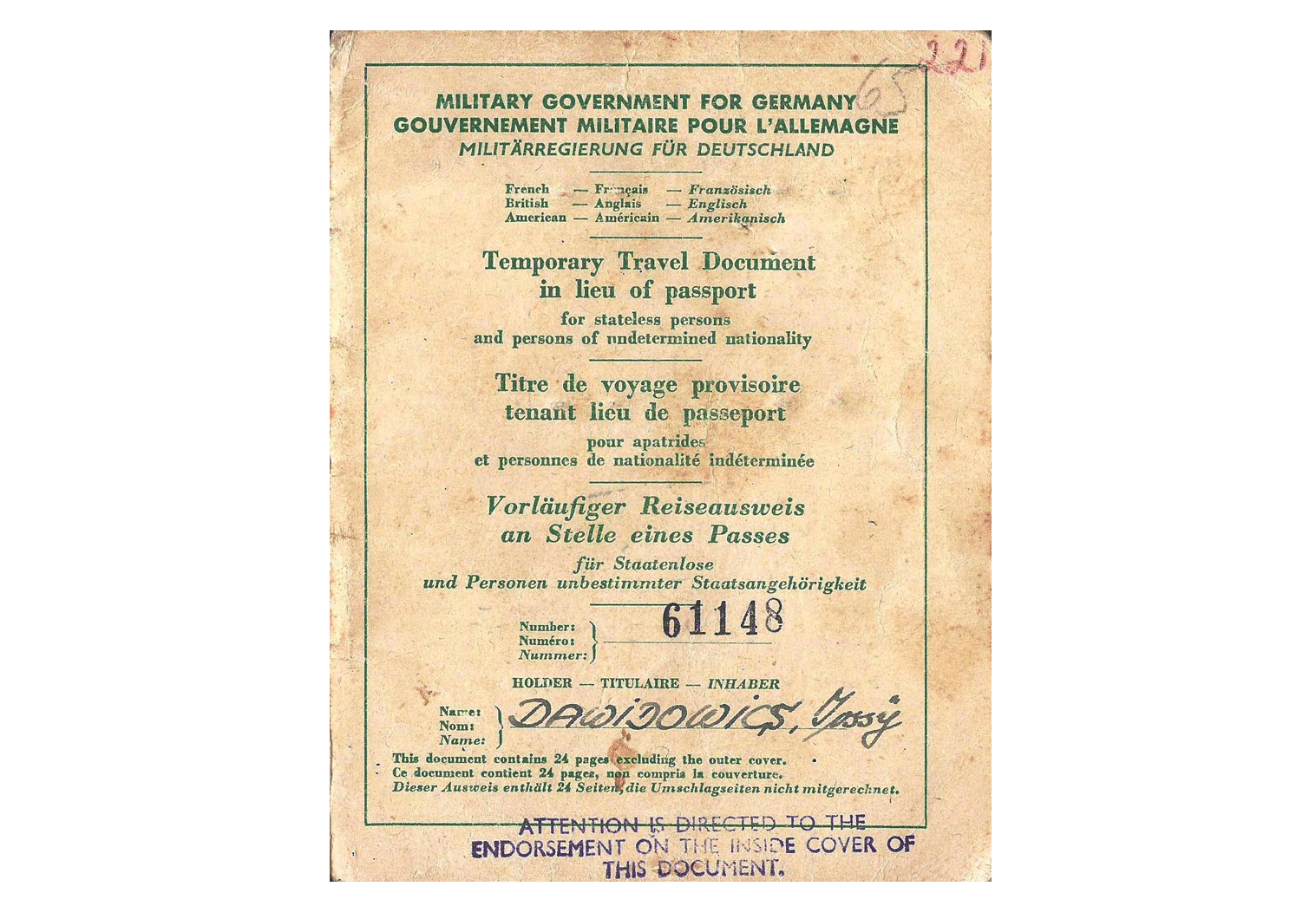 Allied Military Government travel document.