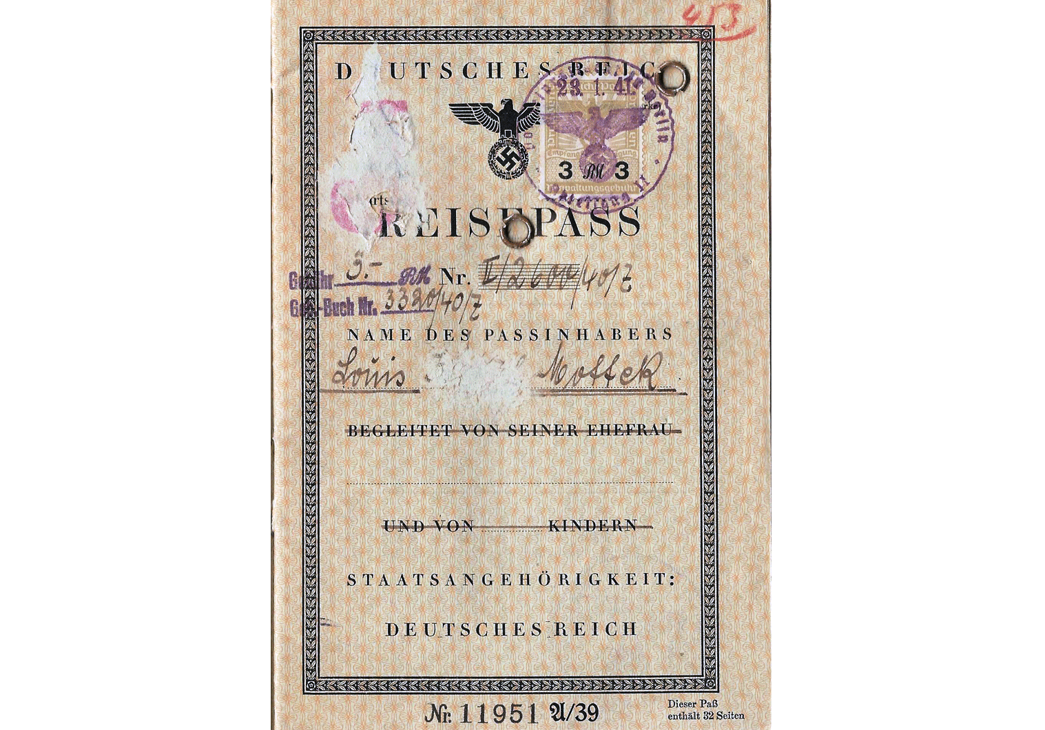 J stamped German passport from 1941
