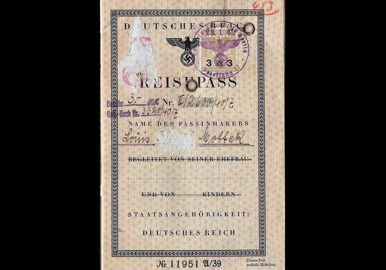 J stamped German passport from 1941