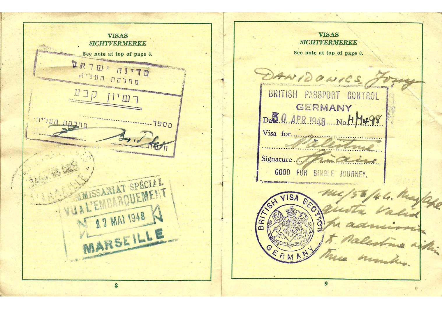 WW2 refugee passport