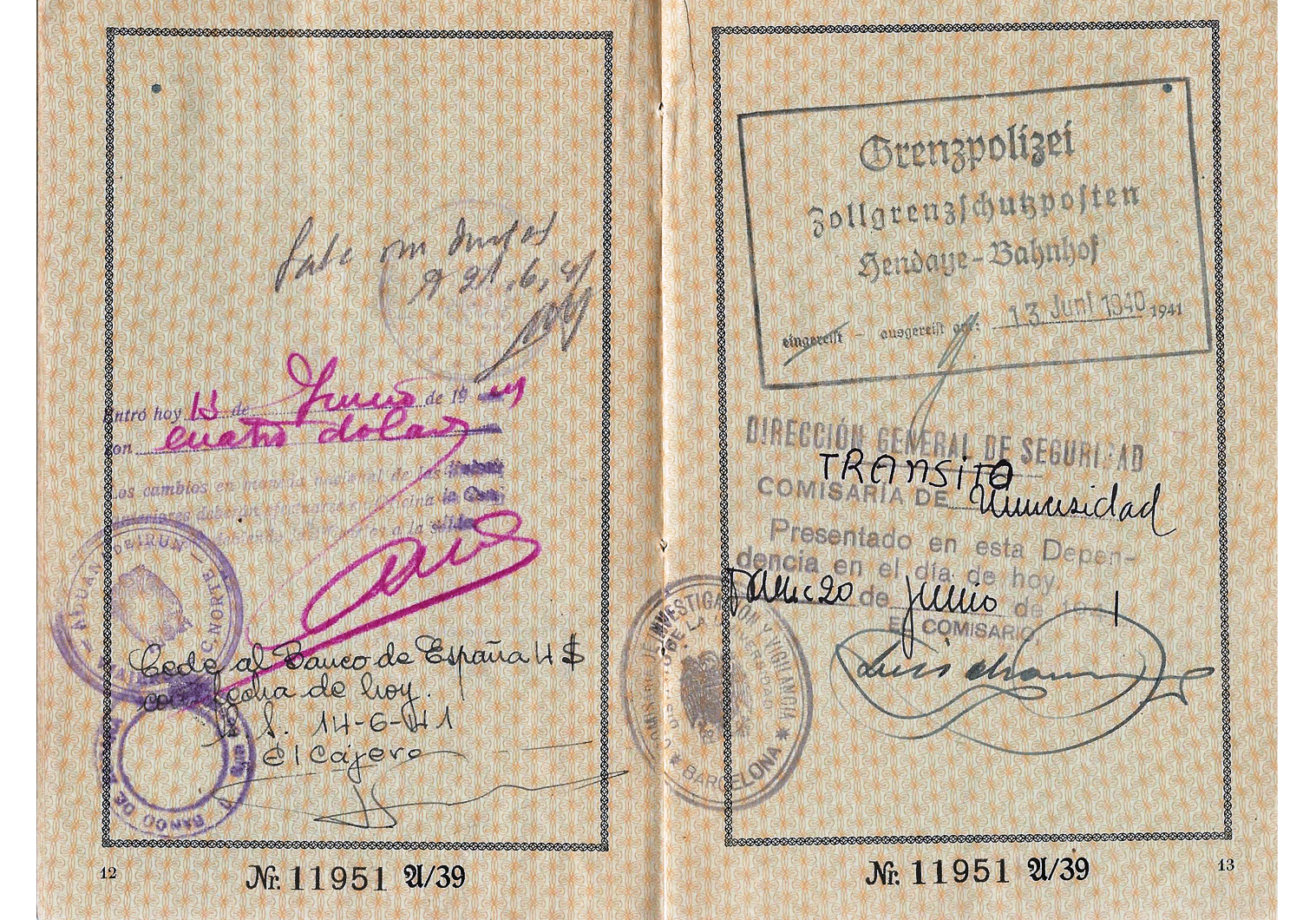 J stamped German passport from 1941 used for Spain