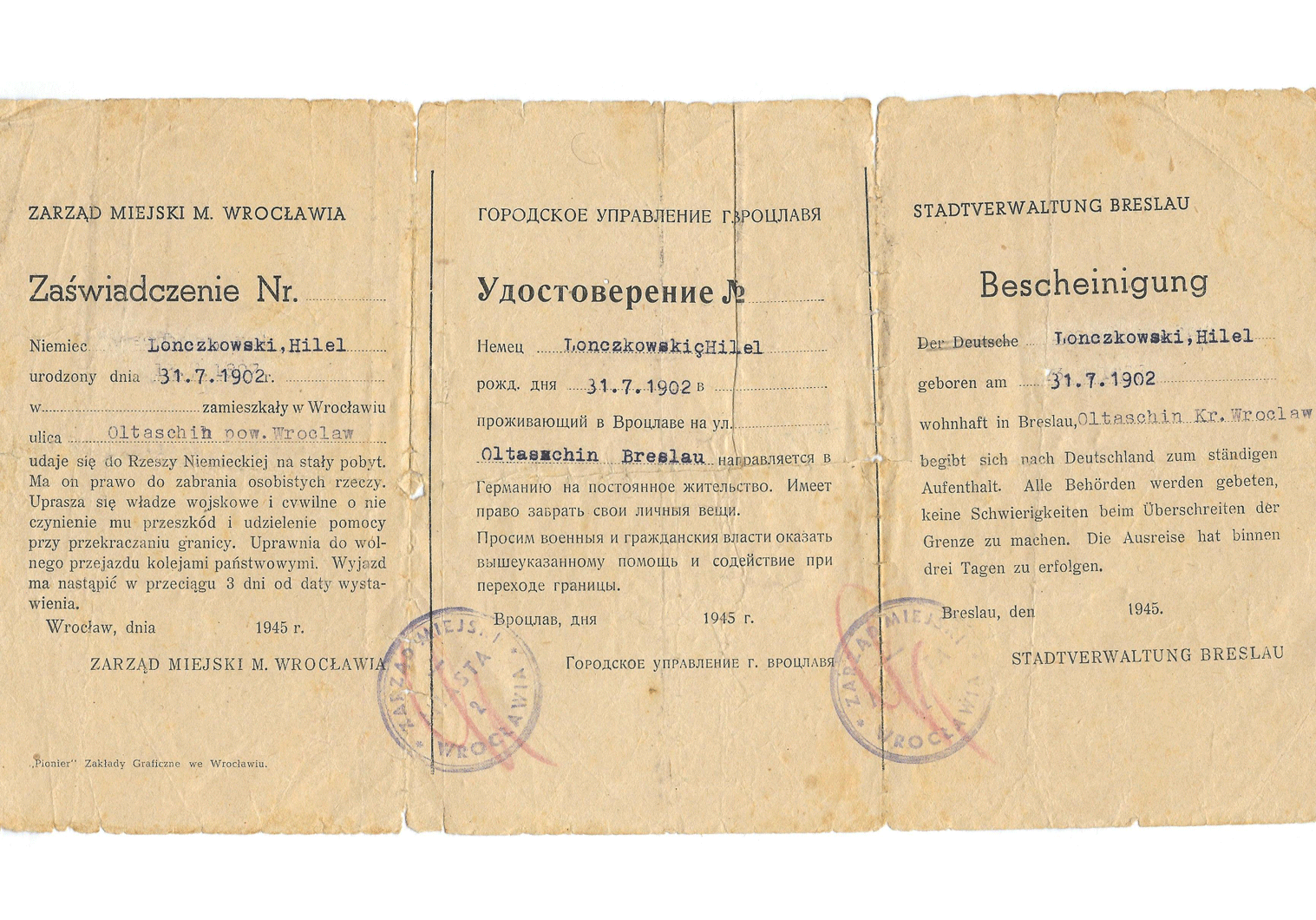 WW2 German evacuation and deportation papers.