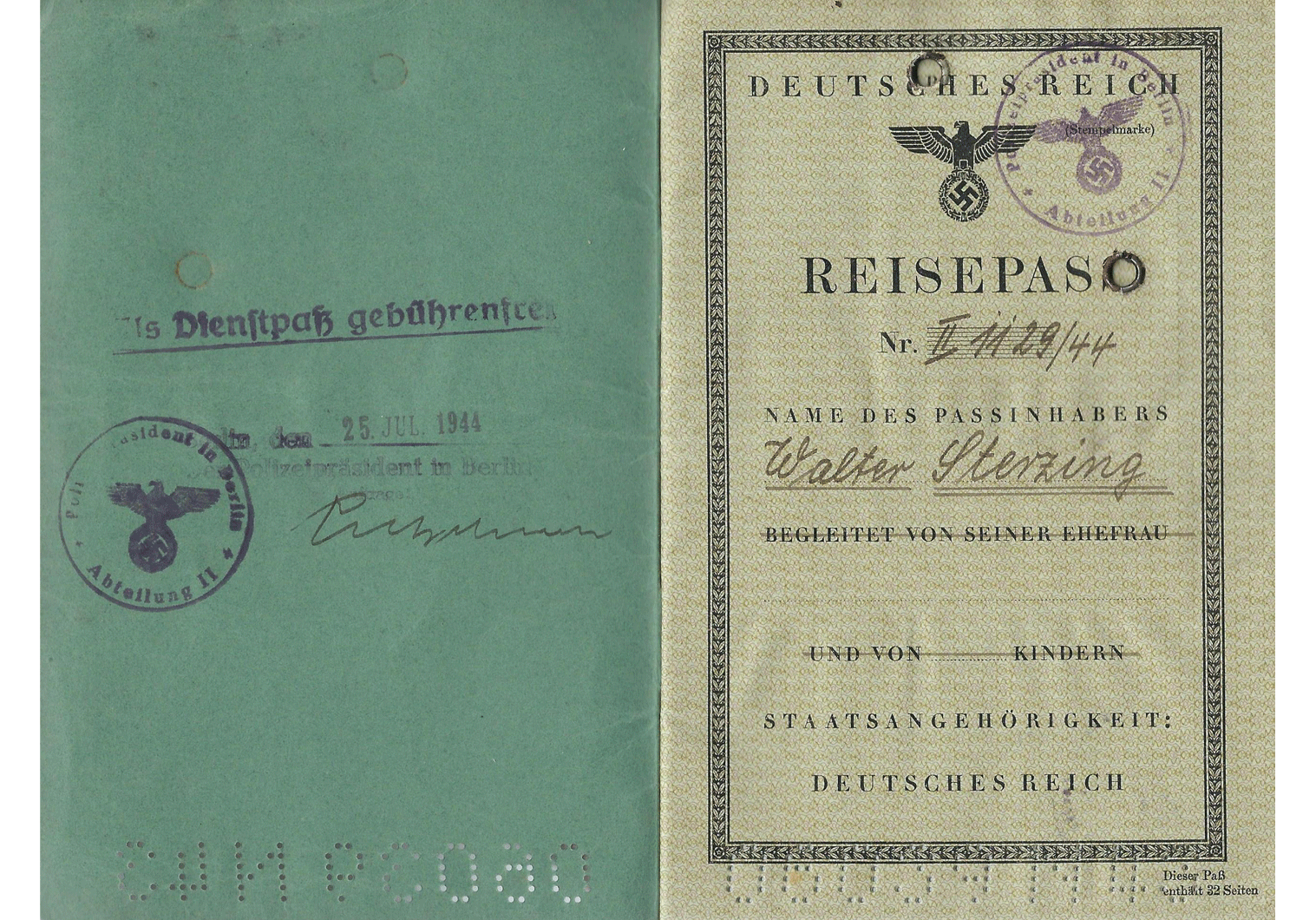 1944 German Dienstpass