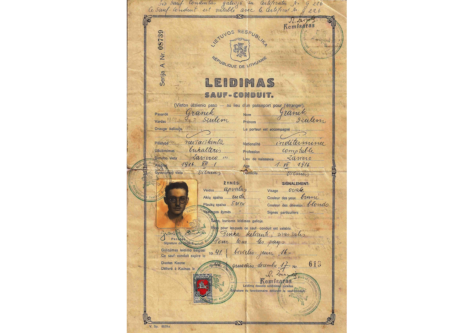 WW2 refugee travel document
