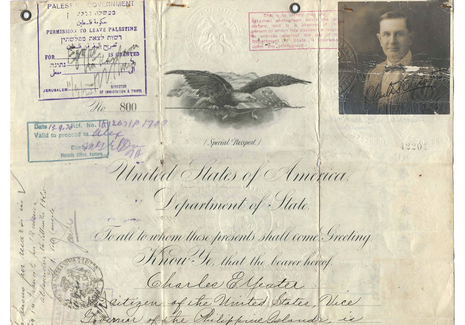 WWI United States Special passport