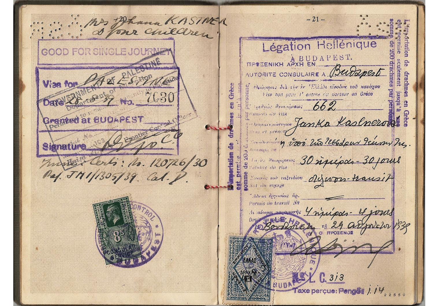 WW2 British Palestine visa